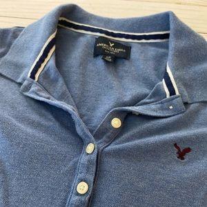 American Eagle Periwinkle Blue women's polo shirt